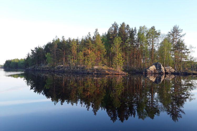 saari järvessä.